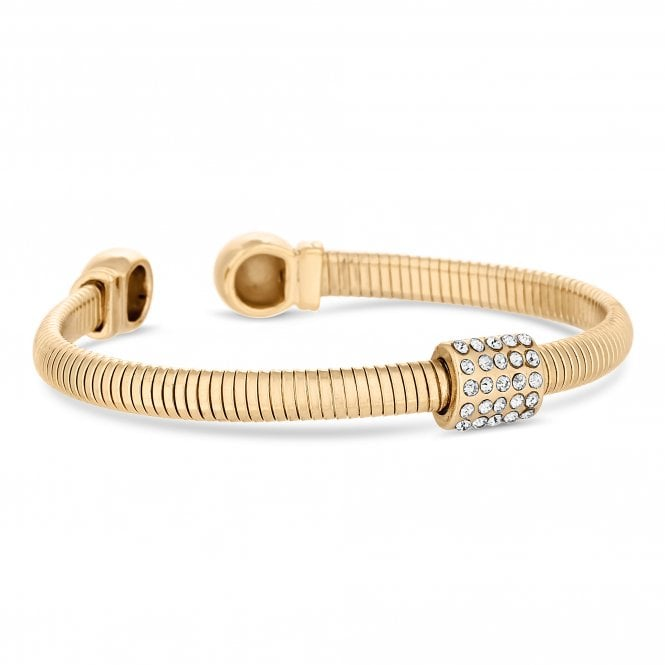 Gold Crystal Pave Cuff Bangle