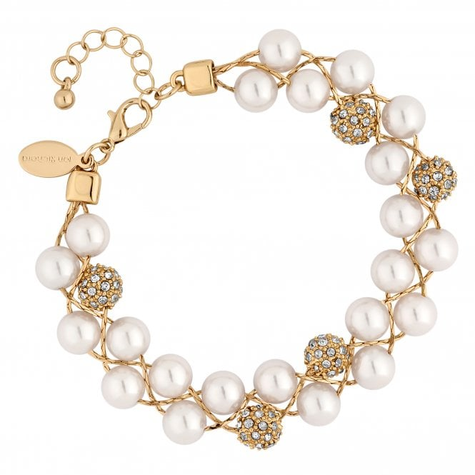 Gold Crystal Pave Orb And Pearl Twist Bracelet