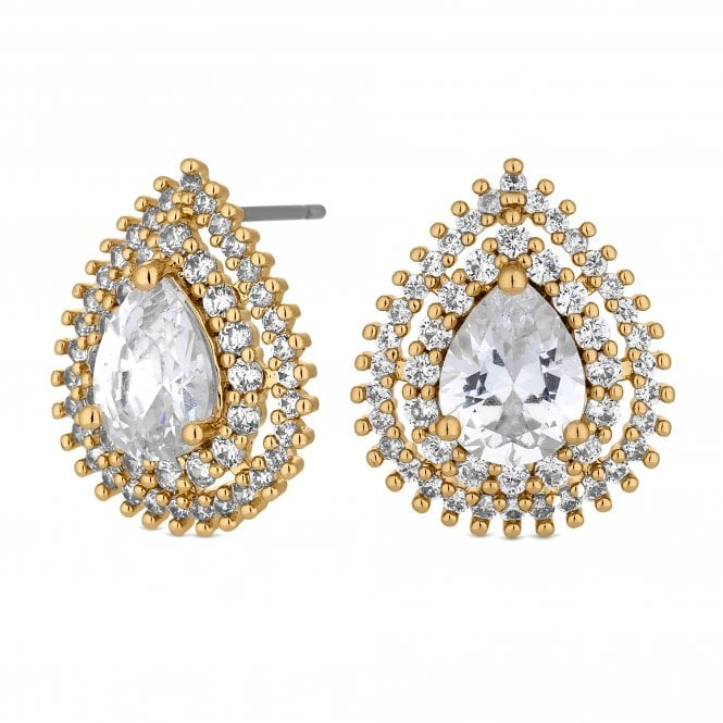 Gold Crystal Peardrop Halo Stud Earring