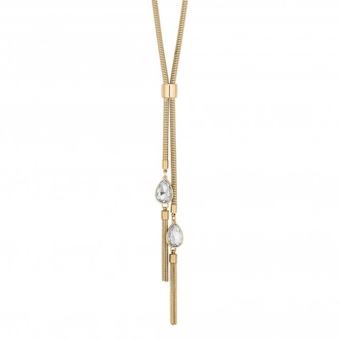 Gold Crystal Peardrop Tassel Lariat Necklace