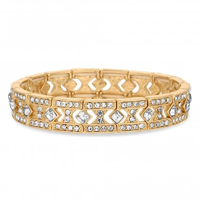 Gold Crystal Square Link Stretch Bracelet