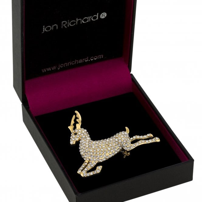 Gold Crystal Stag Brooch