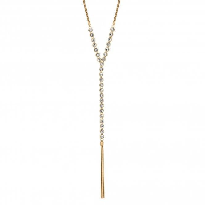 Gold Crystal Tassel Lariat Necklace