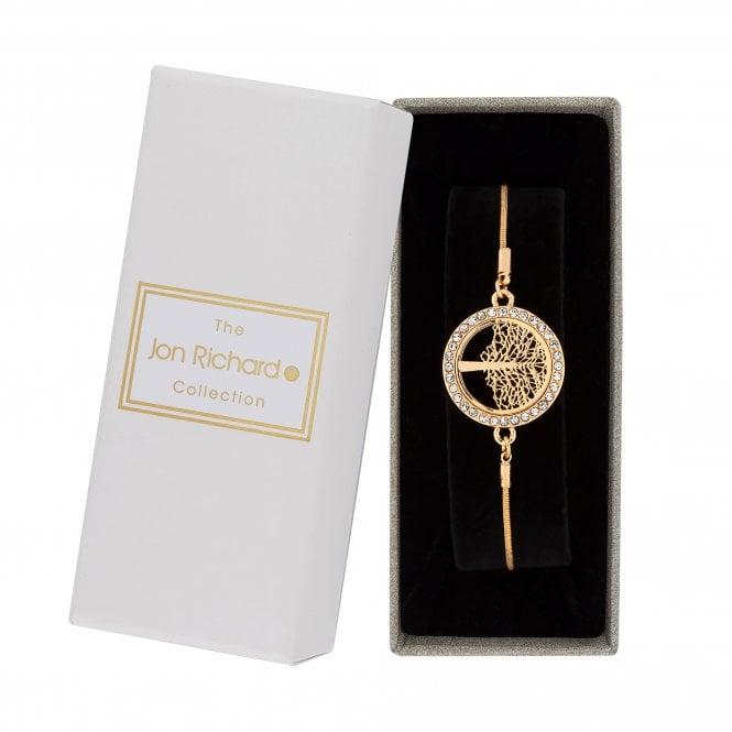 Gold Crystal Tree Of Life Toggle Bracelet