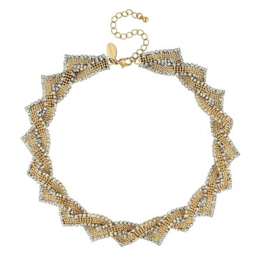 Gold crystal weave necklace