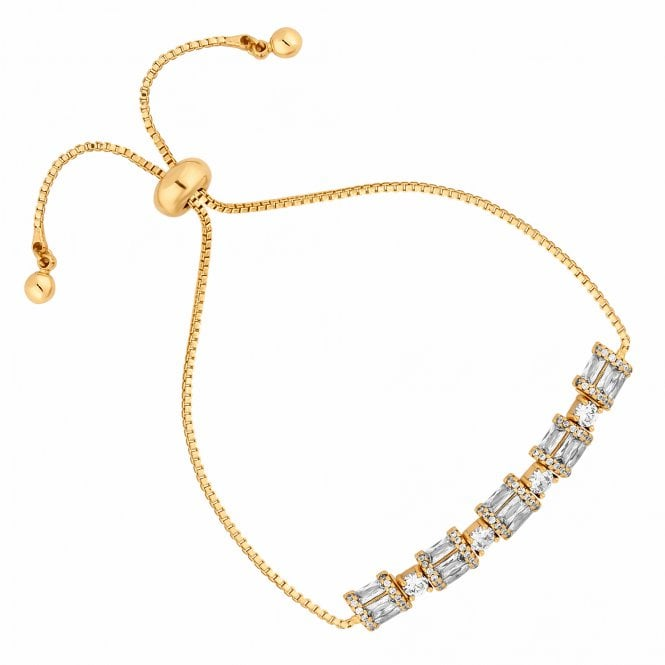 Gold Cubic Zirconia Barrel Toggle Bracelet