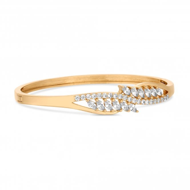 Gold Cubic Zirconia Cluster Twist Bangle