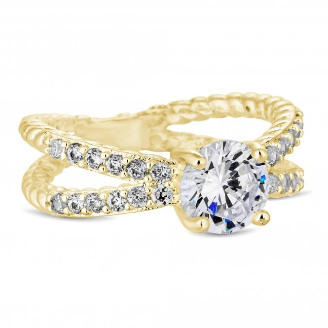 Gold Cubic Zirconia Double Row Ring