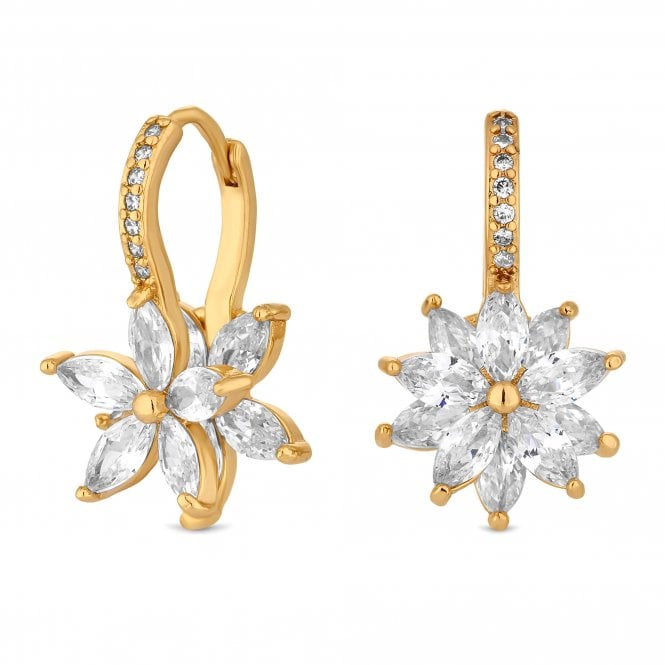 Gold Cubic Zirconia Flower Drop Earring
