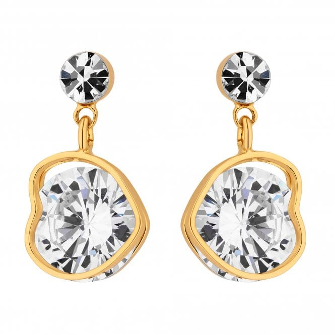 Gold Cubic Zirconia Heart Drop Earring