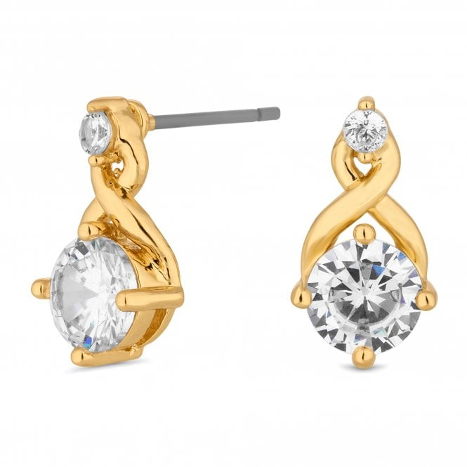 Gold Cubic Zirconia Infinity Mini Stud Earring