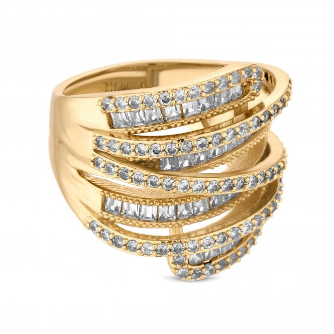 Gold Cubic Zirconia Multi Row Ring
