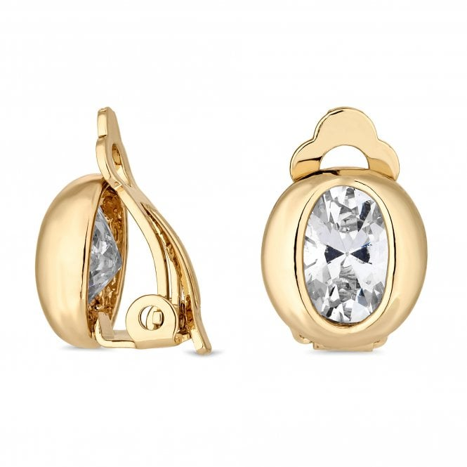 Gold Cubic Zirconia Oval Clip On Earring