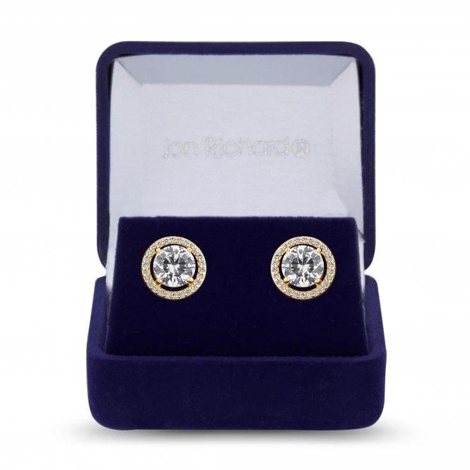 Gold Cubic Zirconia Solitaire Stud Earring