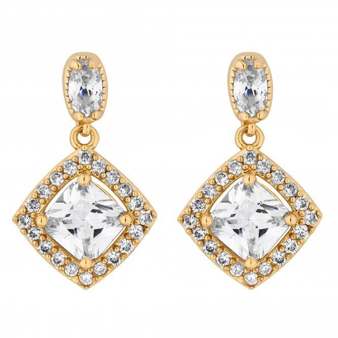 Gold Cubic Zirconia Square Drop Earring