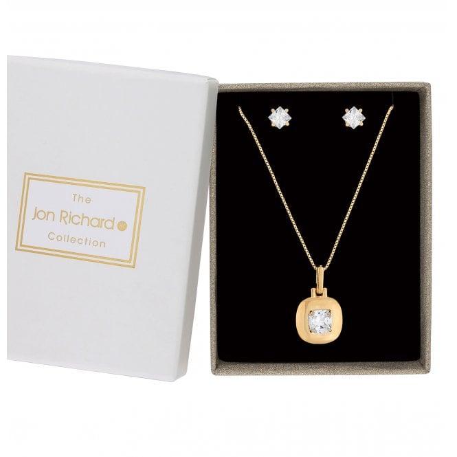 Gold Cubic Zirconia Square Jewellery Set