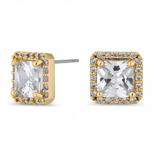 Gold Cubic Zirconia Square Stud Earring