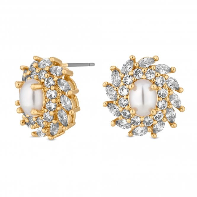Gold Cubic Zirconia Swirl Pearl Centre Stud Earring