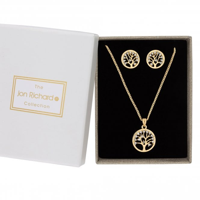 Gold Cubic Zirconia Tree Of Life Disc Jewellery Set In A Gift Box