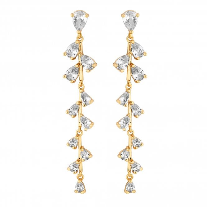 Gold Cubic Zirconia Vine Drop Earring
