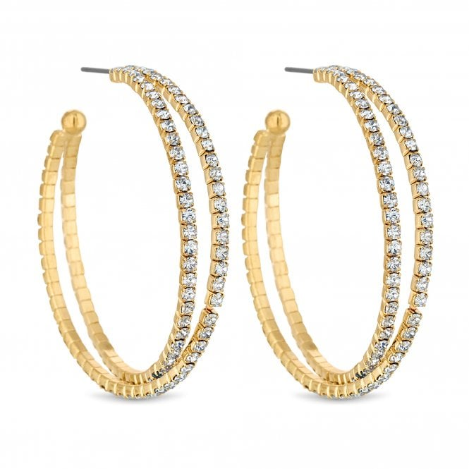 Gold Diamante Cross Over Hoop Earring