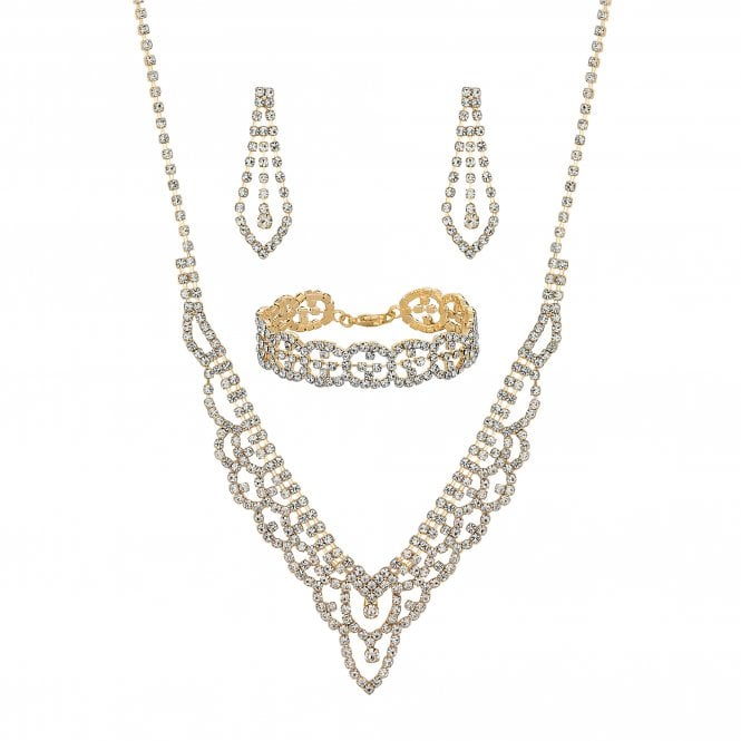 Gold Diamante Crystal Jewellery Set
