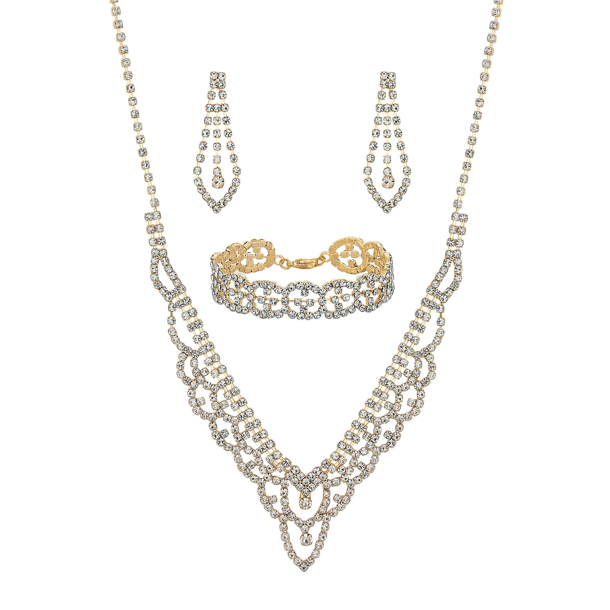 Elegant Bridal Set Heavy Gold Plated Diamante Crystal: Gold Crystal Jewelry Sets
