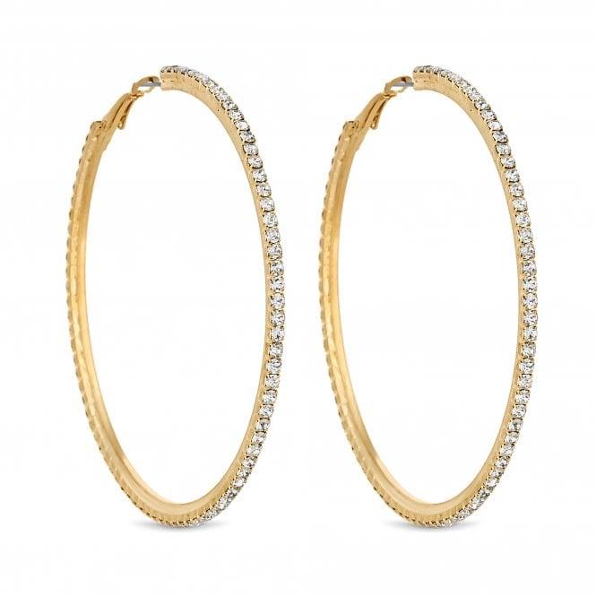 Gold Diamante Hoop Earring