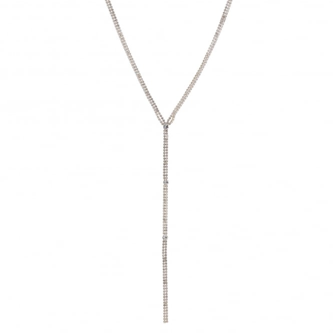 Gold Diamante Long Lariat Necklace