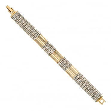 Gold diamante multi row bracelet
