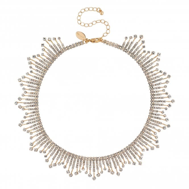 Gold Diamante Stick Statement Necklace