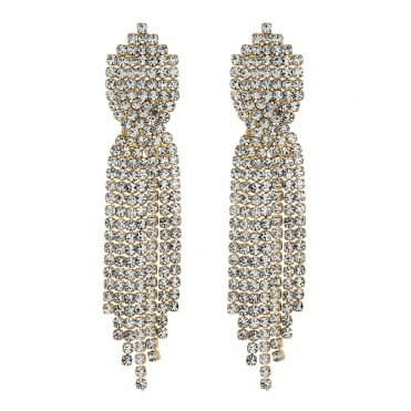 Gold diamante twist drop earring
