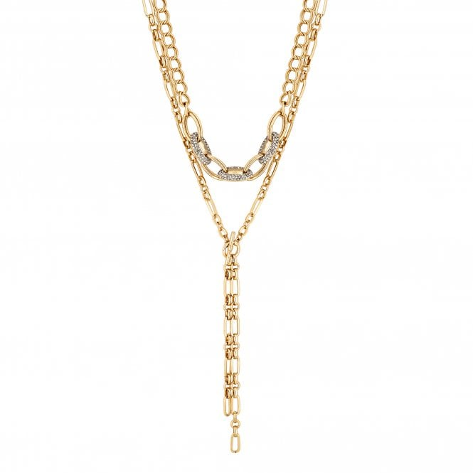 Gold Double Layer Chain Link Necklace