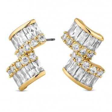 Gold double square earring