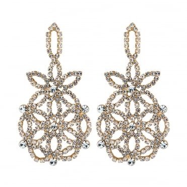 Gold floral diamante earring