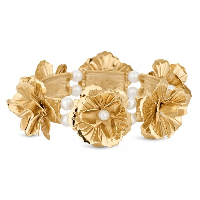 Gold Flower Statement Bracelet