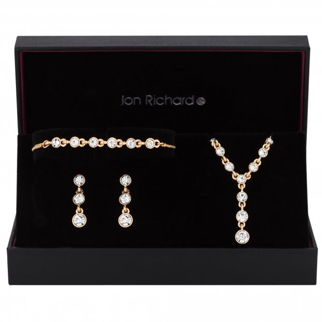 Gold Graduated Crystal Drop Jewellery Set