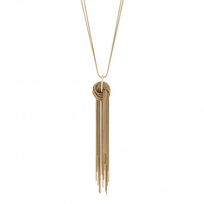 Gold Knot Tassel Long Necklace
