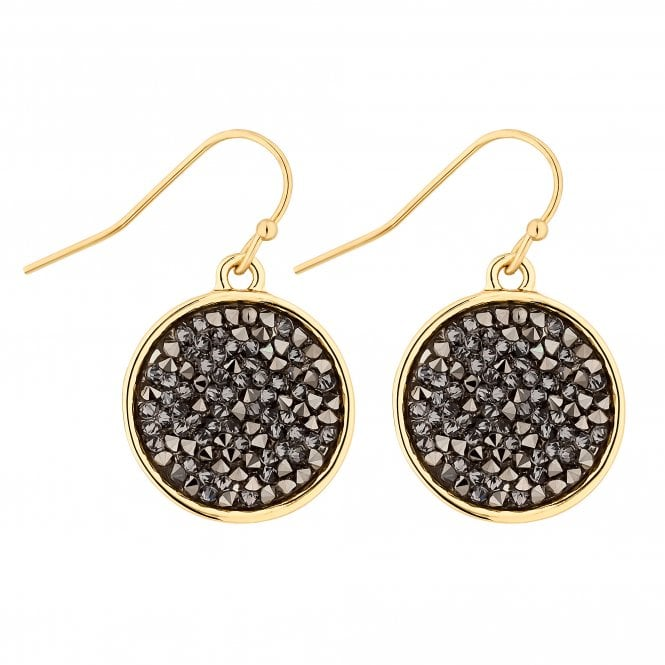 Gold Metallic Rocks Disc Drop Earring Embellished With Swarovski Crystals