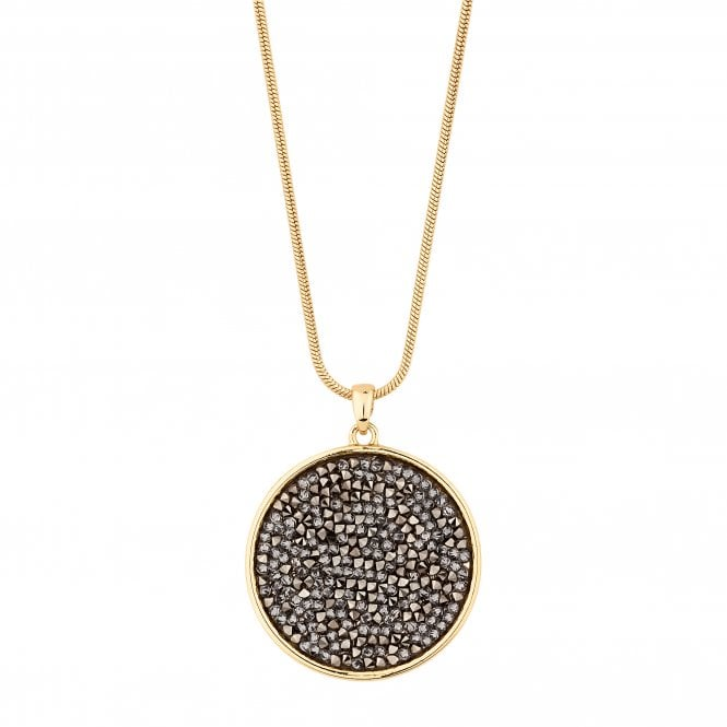 Gold Metallic Rocks Disc Pendant Necklace Embellished With Swarovski Crystals