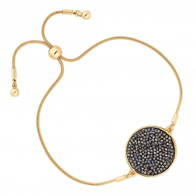 Gold Metallic Rocks Disc Toggle Bracelet Embellished With Swarovski Crystals