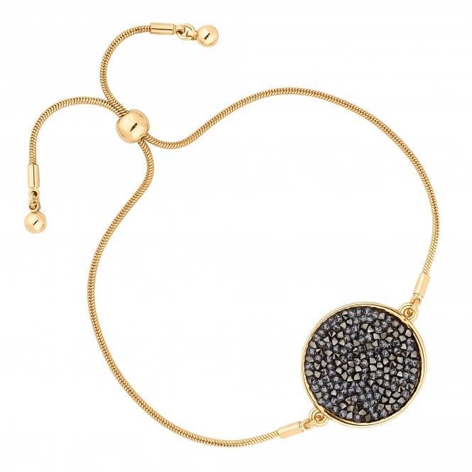 Gold Metallic Rocks Disc Toggle Bracelet Embellished With Swarovski Crystals