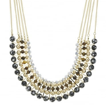Gold multi beaded allway collar necklace