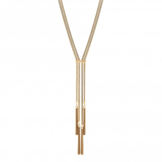 Gold Multi Row Tassel Necklace