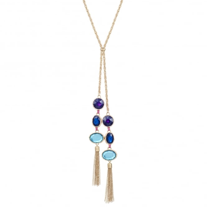 Gold multi tone lariat necklace
