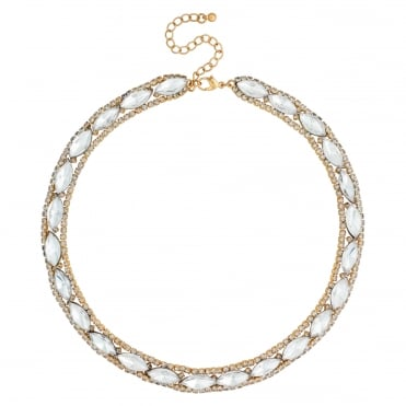 Gold navette crystal allway necklace