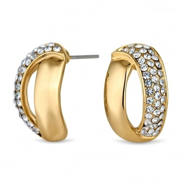 Gold open half hoop earring