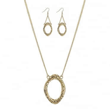 Gold oval link jewellery set