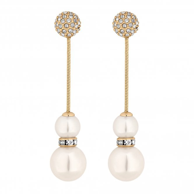Gold Pave Ball And Pearl Drop Earring