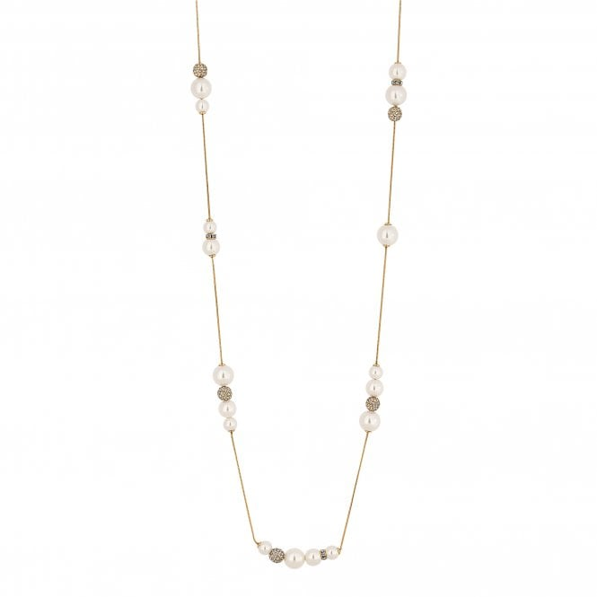 Gold Pave Ball And Pearl Long Necklace